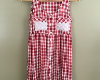 Vintage 90's Gingham Button Front Women's Baby Doll Dress by Moda
