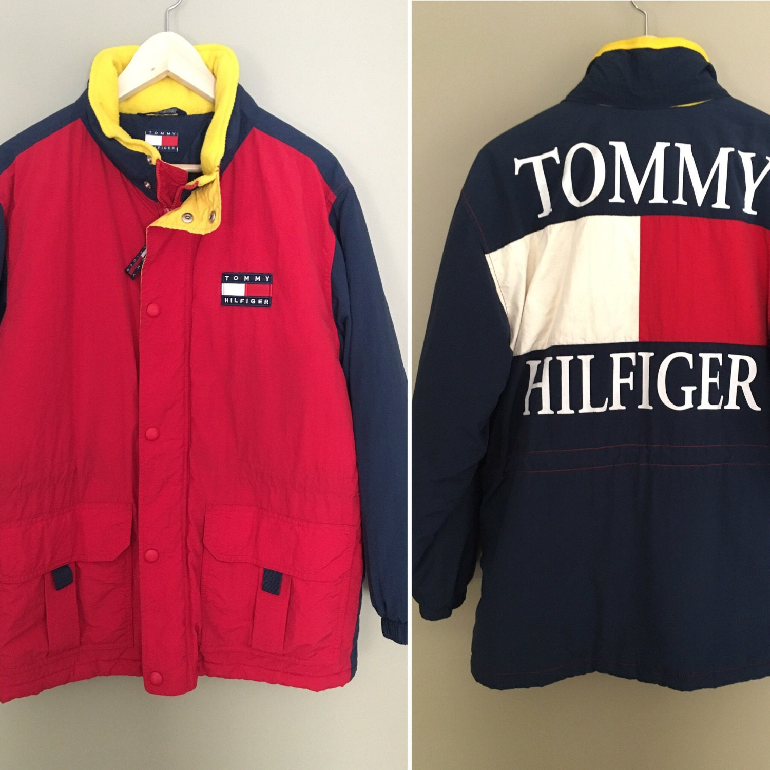 vintage 90s tommy hilfiger rare color block retro flag logo. Black Bedroom Furniture Sets. Home Design Ideas