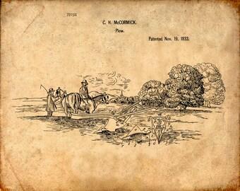 Plow Patent Print From 1833 - Patent Art Print - Patent Poster - Farmer Art