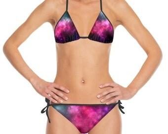 Galaxy Print Bikini, Purple, Pink, Space Theme Swimwear, Made to Order