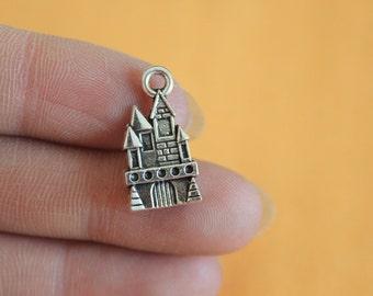 Castle charms 21x11mm antique silver tone Castle Charm for Necklace or Bracelet