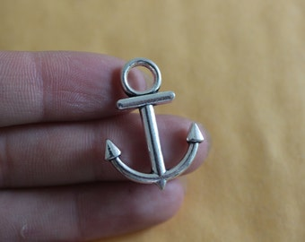 Silver Anchor Charm Small Boat Anchors Nautical Solid 30*22mm