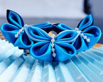 Blue butterfly Kanzashi hair clip
