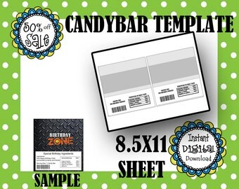 BIRTHDAY CANDYBAR Wrapper- Editable Template- Digital Download- Commerical Use- DIY Digital Template