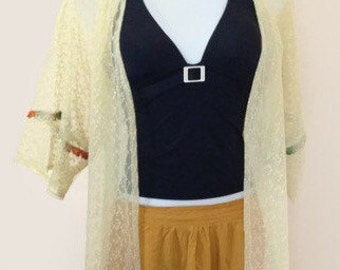 Kimonos, Yellow Lace, Kimono Cardigan, Kimono Jacket, Women, Girl's Gift, Baby Shower, Maternity Gift, Boho Beach Wear, Swim Robe, Fall