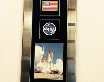 Space Shuttle Atlantis photo ,nasa patch framed 12.5x25(139)