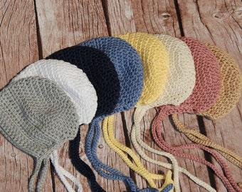 Baby  bonnet, crochet super soft bonnet, newborn hat with ties, handmade bonnet, photo prop newborn photo, baby shower gift, cotton hat