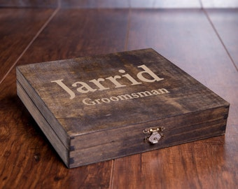Rustic Cigar Box, Groomsmen Cigar Box, Best Man Gift, Men's Man Gift Box, Wood Engraved Name, Unique Rustic Bridal Favor