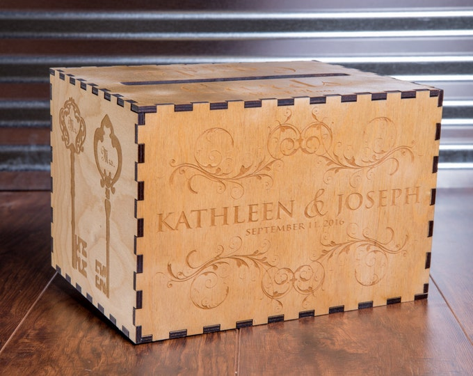 Rustic Personalized Card Box for Wedding, Vineyard Winery Theme Gift Card Box, Wedding Card Chest, Birdcage, MailBox, Memory Box, Engraved