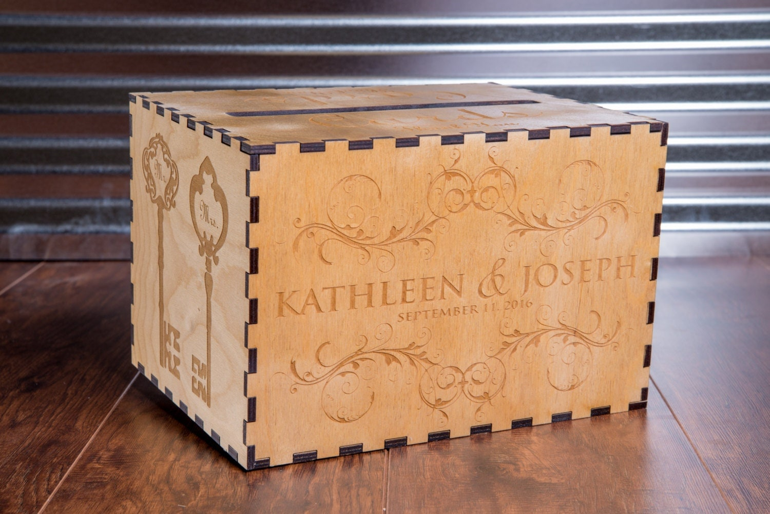 Rustic Personalized Card Box For Wedding Vineyard Winery Theme Gift Chest Birdcage MailBox Memory Engraved