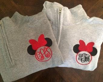 Minnie Mouse Monogram Disney Sweatshirt, Women's Zip up, Unisex Quarter Zip
