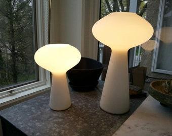 Pair, Mid-Century Modern Lamp by Lisa Johansson-Pape, White, Blown Glass, Pair