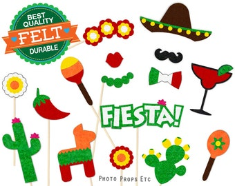 Cinco de Mayo Photo Booth Props - Mexico  Photobooth - Fiesta - Felt -  Day of the Dead