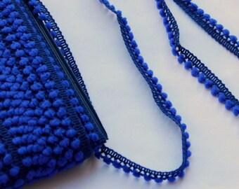 1 yard or more Royal Blue mini pom pom trim - Royal Blue trim - Royal Blue pom pom sewing notion