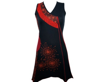 Asymmetric tunic dress with graphic prints - 100% cotton - RATO (red)