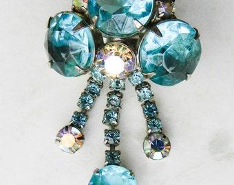 Vintage Blue and Silver Rhinestone Brooch