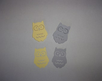 Owl Die Cuts, Large Table Confetti - Pale Yellow, Grey Cardstock Paper Baby Shower Birthday Party Decoration Shape Card Making Supply
