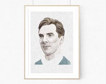 Benedict Cumberbatch Portrait  |llustration art giclée print,poster,Wall decor,signed art,wall art,portrait,inspired print, A4 | A3 | A2 |