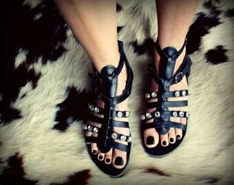 Genuine leather Gladiator sandal in Swarovski elements- Elysium