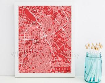 San Jose Map Art San Jose Print San Jose Art Print San Jose Poster San Jose Printable San Jose City Art San Jose California Art San Jose