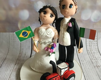 Tractor/Farmer theme Bride and Groom Wedding cake Topper - Fully Personalised a lovely keepsake