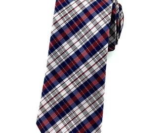 Navy Blue Maroon and White Check Patterns 6.5cm skinny tie. Slim Tie.Narrow Thin Tie. Skinny Tie. Formal Necktie. Navy Blue tie. Skinny ties