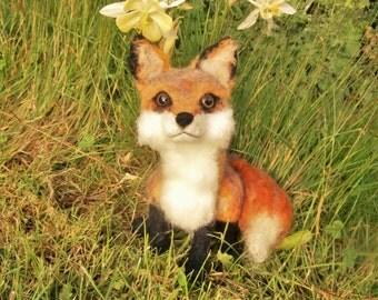 Hand crafted needle felt red fox cub