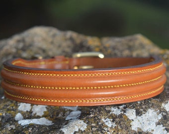 "Double Raised Leather Collar, 5/8"", 3/4"", 1"" and 1 1/4"" widths, Handmade"