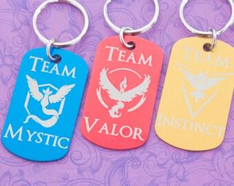 Team Keychain - Valor - Instinct - Mystic - Pokemon Go - Pokemon Master - Pokemon Trainer - Team Instinct - Team Valor - Team Mystic