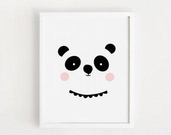 Poster bebe INSTANT DOWNLOAD Cute Panda Printable art Baby Girls Panda Bear animal illustration Kawaii baby room art print nursery art