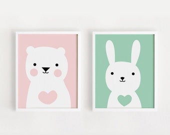 Printable Nursery Art Set of 2 Poster Bear Bunny Baby room Wall art Child room decor Pink and Mint color Digital file INSTANT DOWNLOAD
