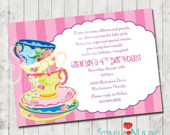 Tea Party Birthday Invitation