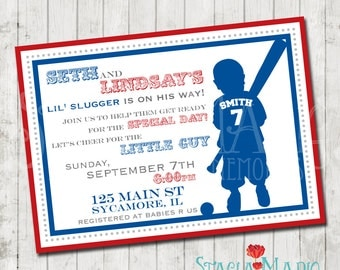its a boy vintage baseball baby shower invitation