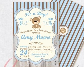 Baby Shower Invitation. Baby boy. Bear babyshower invite.  Teddy bear babyshower invitation. Printable