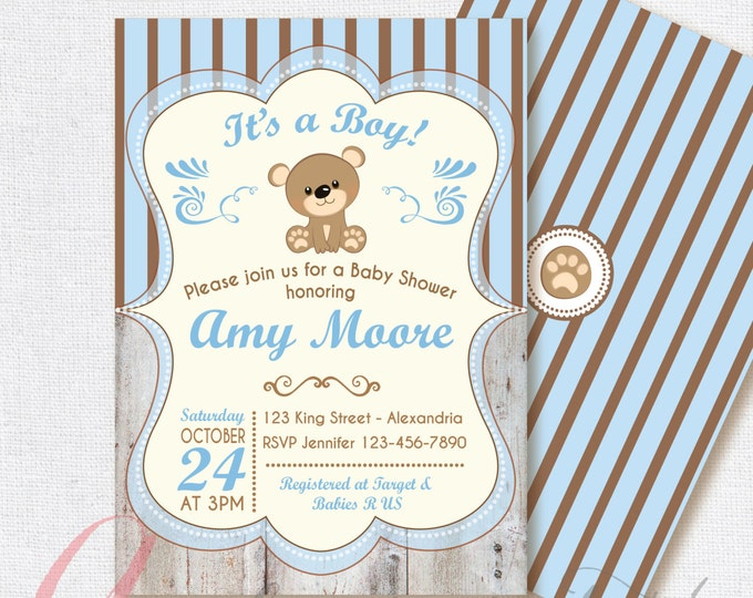 Baby Shower Invitation. Baby boy. Bear babyshower invite. Teddy bear babyshower invitation. Printable