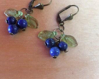Blue Berries bronze Earrings