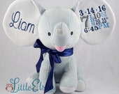 Personalized stuffed animal, birth stats or name keepsake, personalized blue elephant stuffed animal,  cubbies