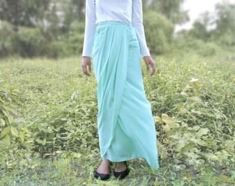 Pleated Maxi Wrap Skirt