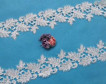 Leaf Lace Trim, Eyelash Lace Trim, Venise Lace Trim, Off White (Z010)