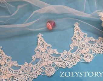 Corded Lace Trim,Wedding Veil Lace Trim,Embroidery Alencon Lace Trim,Bridal Lace Trim Sell By yard (AL035)