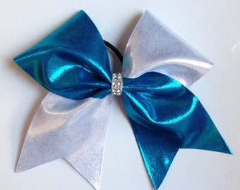 Silver and Blue Tic Toc Cheer Bow