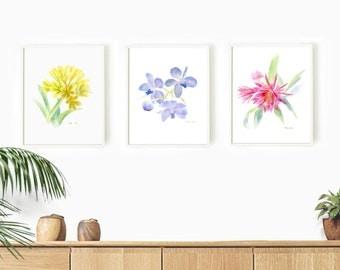Set of 3 Print, Watercolor Flower Painting Print, Original Watercolor, Set of 3 Wall Art
