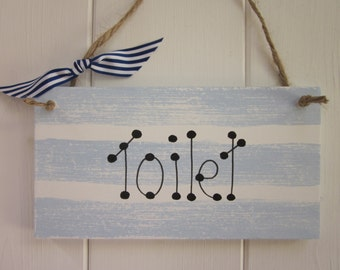 Toilet Nautical door sign plaque chic shabby country style