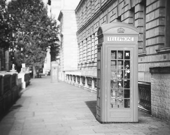 London Photography, Black and White, Red Phone Box, London Phone Booth, London Print, London Decor, London Wall Art, Travel Photo