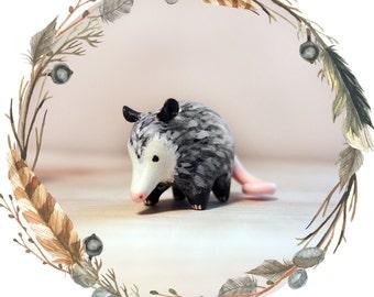 Possum Spirit Animal Totem // Miniature Handmade Polymer Clay Animal Figurine