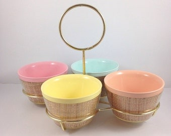 Raffiaware,hostess caddy,Snack Set,1950s,basketweave,Bowls,carrying tray,vintage,melmac bowls,condiment dishes,pink,yellow,peach,surf green