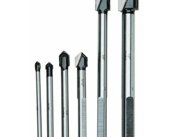 6 PC C3 Carbide Tip Glass & Tile Drill Bits cut glass plastics formica ceramics sizes  1/8 in, 3/16 in, 1/4 in, 5/16 in, 3/8 in, 1/2 in.