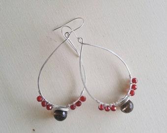 Garnet and Smoky Quartz Earrings