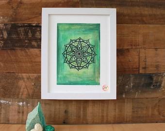 "Heart Chakra Mandala, Giclee Fine Art Print, 8x10"""