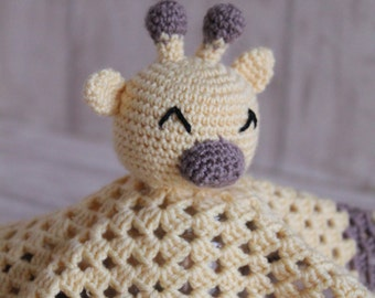 Baby Lovey/ Security Blanket Giraffe // personalize with your name of choice